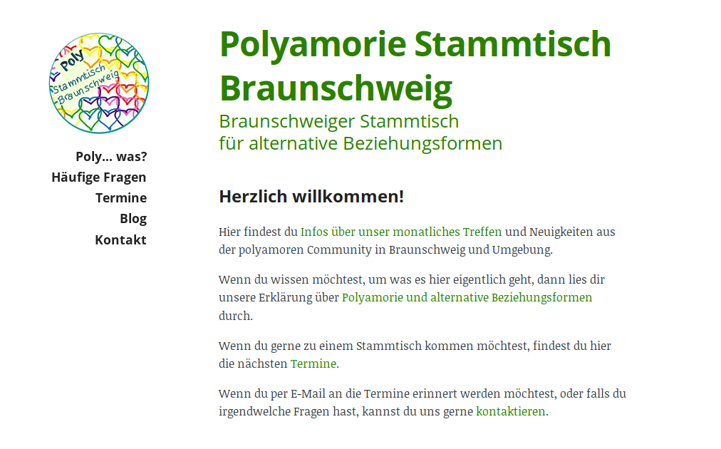 Screenshot of the Polystammtisch Braunschweig Website
